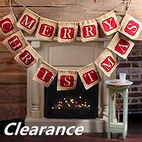 Woshishei Hessian Burlap Merry Christmas Bunting Sign Rustic Wedding Party Banner Clearance