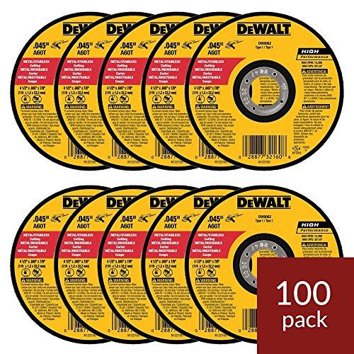 DEWALT DW8062 4-1/2 inch x .045 x 7/8 inch Metal Cut-Off Wheel (100pk)