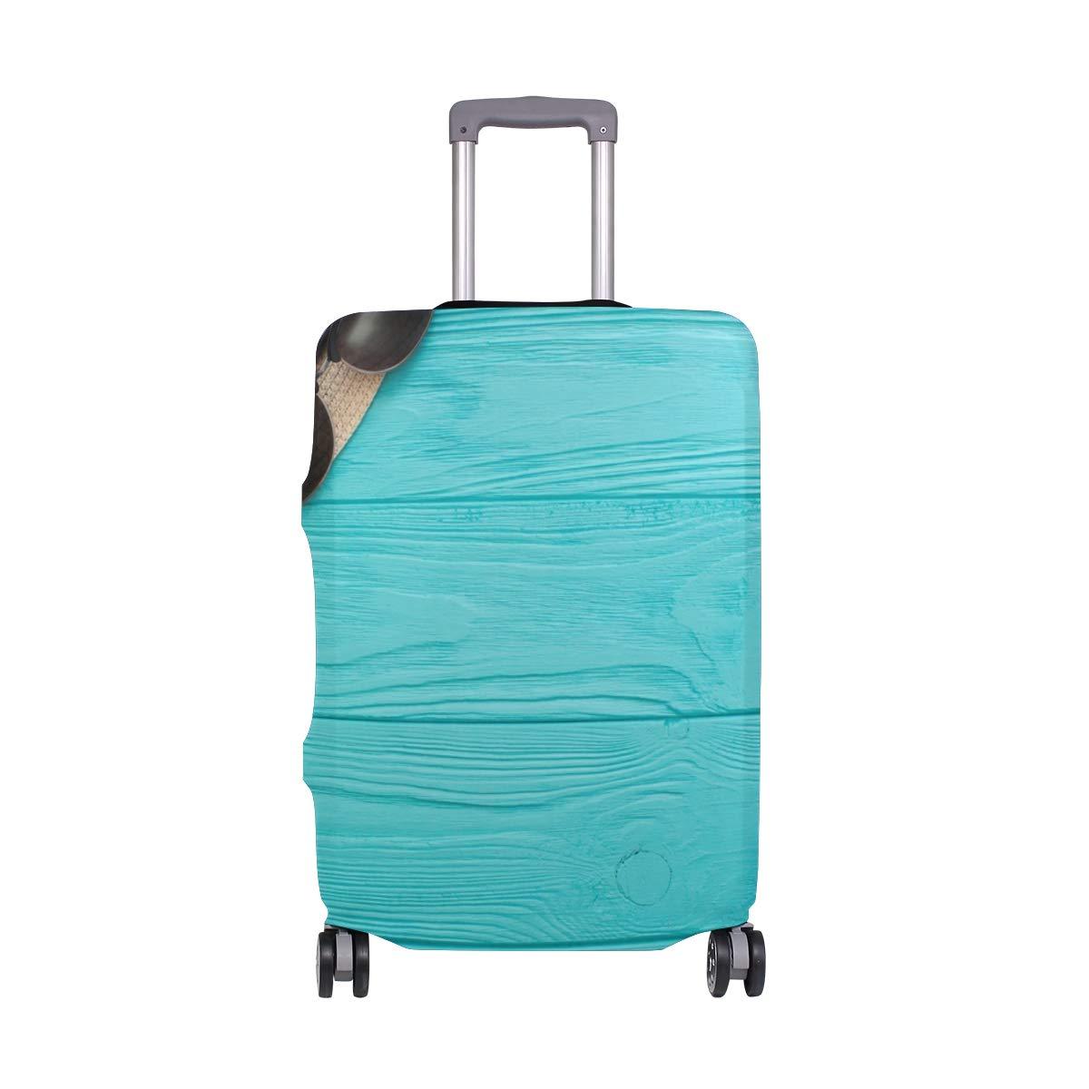 Baggage Covers Summer Blue Wood Board Starfish Seashells Sunglasses Washable Protective Case