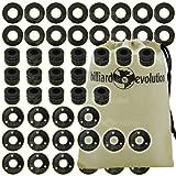 Set of 16 Ridged Rubber Bumpers, 16 Black Outside Bushings & 16 Nylon Washers for Foosball Table & Billiard Evolution Drawstring Bag
