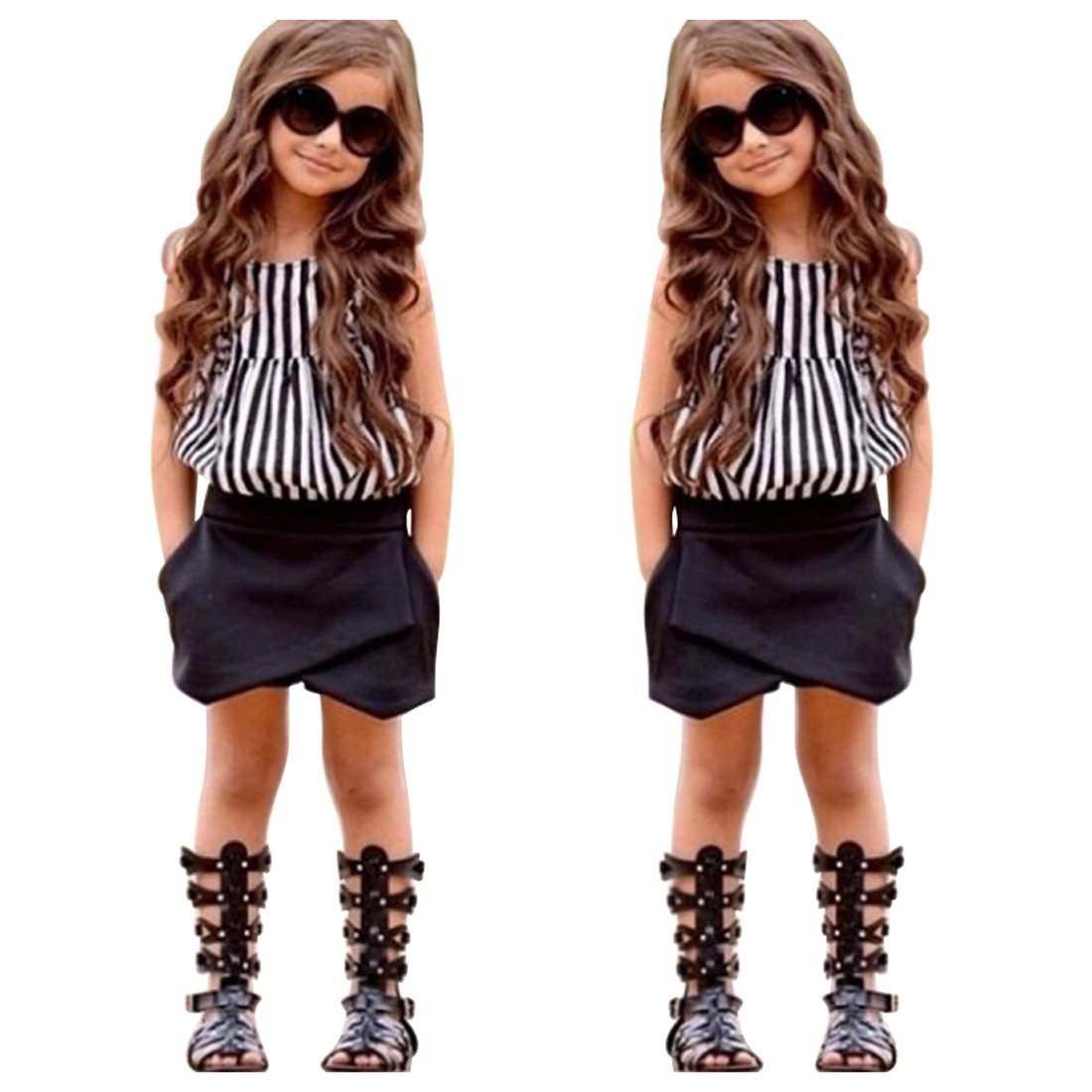 EITC Summer New Fashion Girls 2PCS Clothing Set: Striped Top+ Shorts 6T