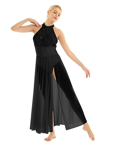Agoky Womens Adult Sleeveless Sequins Asymmetric Ballet Dance Dress Criss Cross Back Gymnastic Leotard