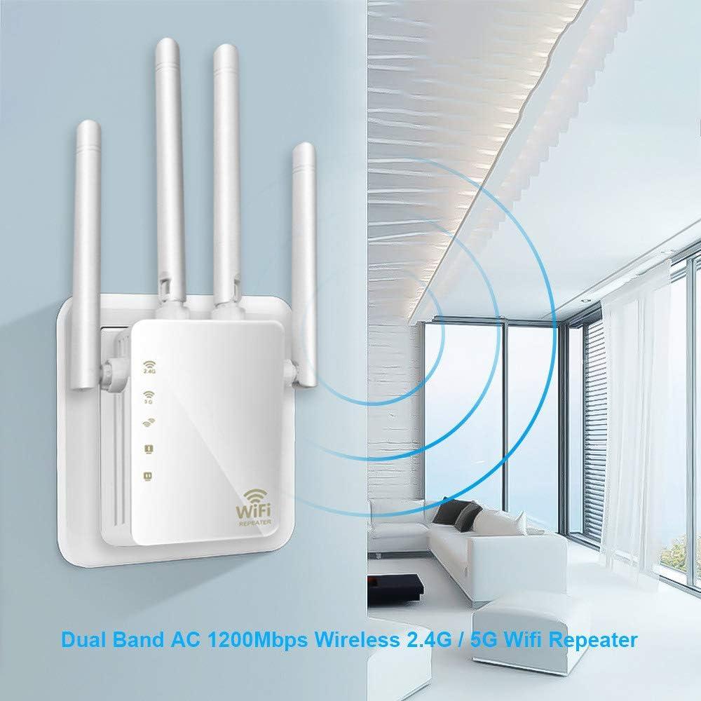 Amplificador De Señal WiFi, Banda Dual 1200Mbps Inalámbrico 2.4G / 5G Repetidor/Enrutador WiFi Amplificador De Señal WiFi Amplificador De Señal 4 Antenas Punto De Extensor De Rango WiFi: Amazon.es: Deportes y aire