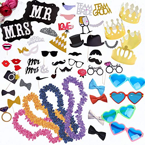Wedding Photo Booth Props Kit - Paper and 3D Wedding Decorations and Accessories for Precious Memories; Jumbo Heart Glasses; Gold Crowns; Hawaiian Leis; Bow Ties; Mr. & Mrs. Sign by -