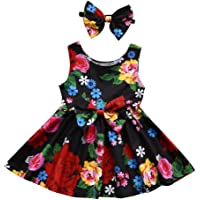 IEason Toddler Kid Baby Girl Clothes Floral Bowknot Princess Party Dresses Outfits