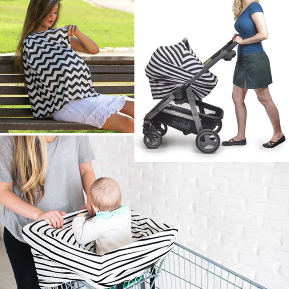 Cubiertas para cochecito de bebé 4 en 1 funda para asiento de coche multiusos elástico para silla de paseo, cubierta para lactancia (rayas azules) Blue wave ...