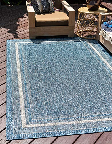 - Unique Loom Outdoor Border Collection Casual Solid Border Transitional Indoor and Outdoor Flatweave Blue  Area Rug (6' 0 x 9' 0)