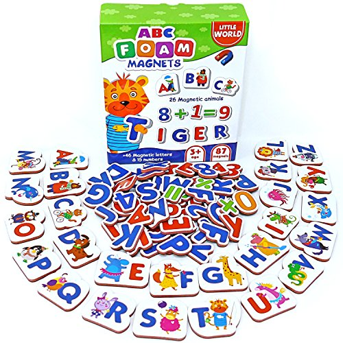 Kids Fridge Magnets 87 pcs – Fridge Magnets for Toddlers – Baby Magnets for Refrigerator – Alphabet Magnets – Magnetic Letters and Numbers – Kids Magnets for Refrigerator – Animal Magnets