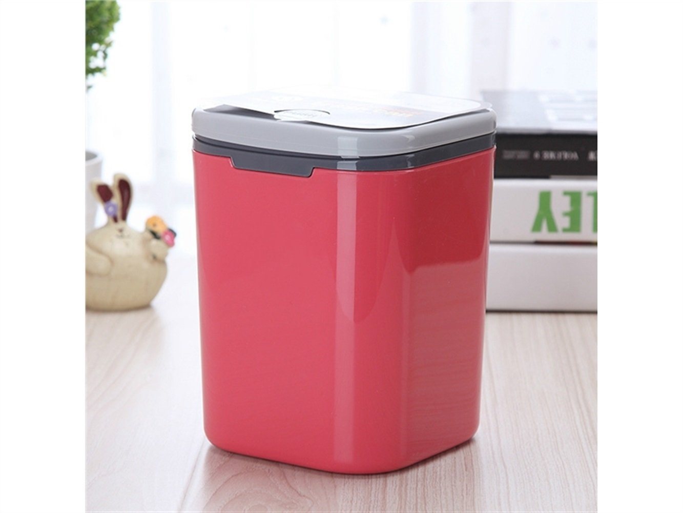 JwlqAy Livingroom Trash Storage Flip Cover Rubbish Waste Can Lid (Pink)