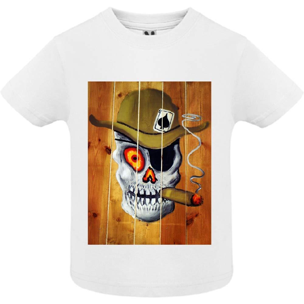 T-Shirt - Manche Courte - Col Rond - Tete de Mort 36 - Bébé Garçon - Blanc - 18mois