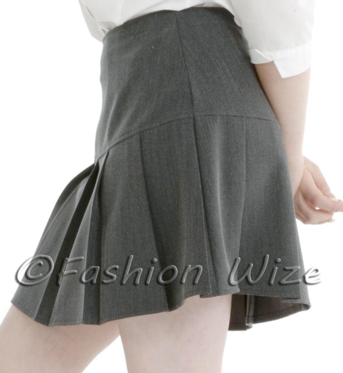 fab40e70b2 UK 6-24) Girls Ladies School Drop Waisted Pleated Skirt Formal in ...