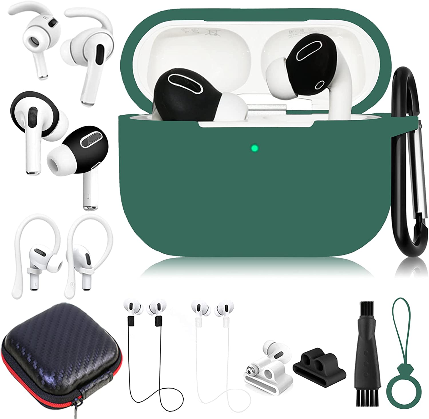 Airpods Pro Case Cover Accessories Set,12 in 1 Protective Silicone Airpod Pro Accessory Kit for Apple Airpods Pro Charging Case w/ Keychain/Ear Cover/Watch Band Holder/Strap/Carrying Box for Women Men