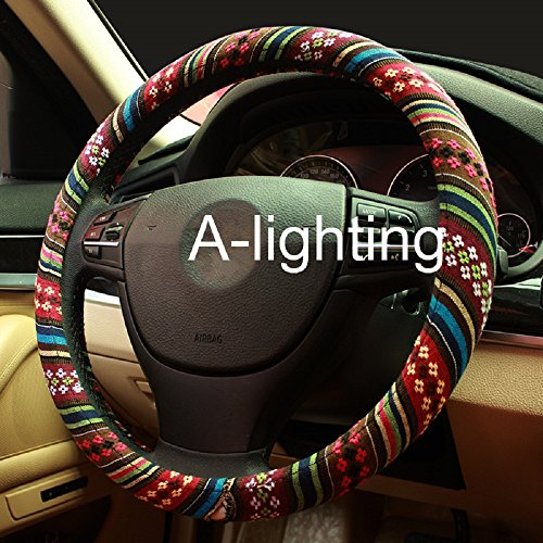 A-Lighting Ethnic Style Coarse Flax Cloth Automotive Steering Wheel Cover Anti Slip and Sweat Absorption Auto Car Wrap Cover - B