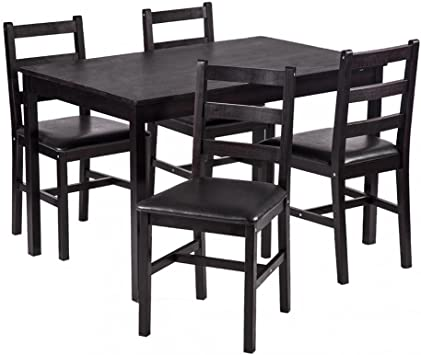 Amazon Com Fdw 5pcs Dining Table Set Pine Wood Kitchen Dinette Table With 4 Chairs Table Chair Sets