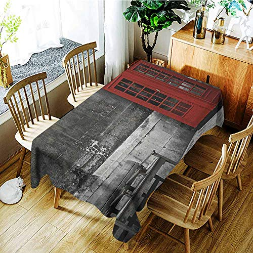 AndyTours Outdoor Tablecloth Rectangular,London,Party Decorations Table Cover Cloth,W50x80L Red Grey