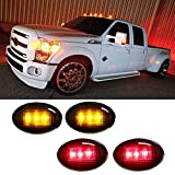 iJDMTOY (4) Smoked Lens LED Fender Bed Side Marker Lights Set For Ford F350 F450 HD Truck (2 x Amber, 2 x Red)