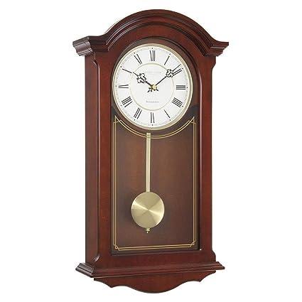 Reloj de pared tradicional de péndulo de Londres, caoba, 51 x 26 x 9