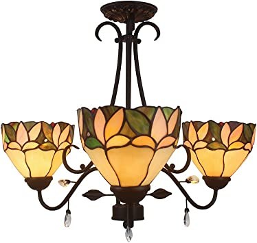 Warehouse Of Tiffany Tf16c 3lts 4 Light Apple Leafy Tiffany Style With Crystals Ceiling Lamp 16 Brown Amazon Com
