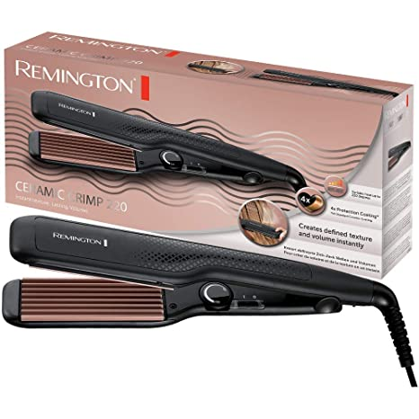 Remington Ceramic Crimp S3580 - Plancha de Pelo, Cerámica Avanzada, Placas Anchas, Crea