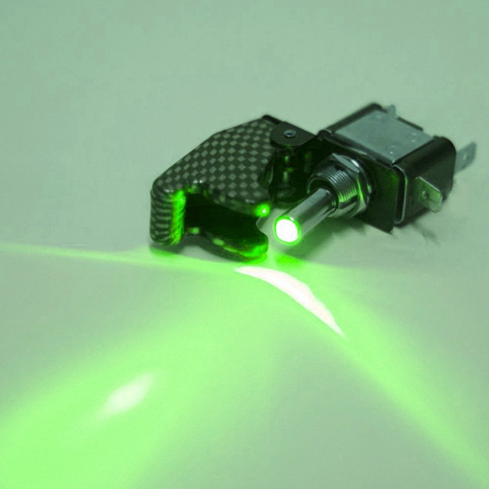 Qiorange 2x Auto12v KFZ Schalter SPST Wippschalter Ein//Ausschalter mit Gr/ün LED Anzeige Wechsel Switch Kippenschalter