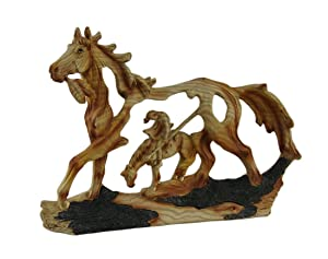Zeckos End of The Trail Classic Western Wood Look Statue