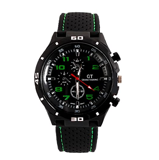 Fanmis GT Racer Reloj Deportivo Militar Piloto Aviador Ejército Estilo Negro Silicona Verde de los hombres relojes: Amazon.es: Relojes