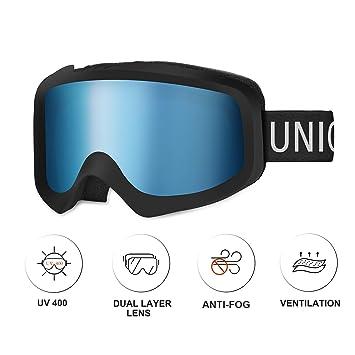 Unigear Gafas de Esquí OTG Esquiar Protección UV 400 Snowboard Revo Lentes Doble Anti-Niebla Anti-Reflejo de Nieve para Adulto Mujer Hombre
