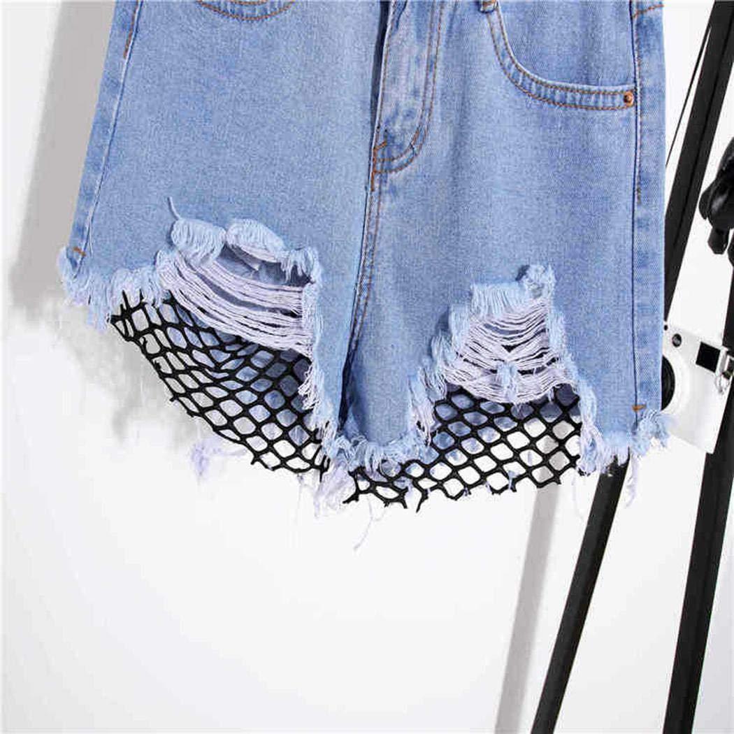 Fantiff Pantalones cortos de mezclilla de moda de las mujeres de cintura alta borla agujero agujero red de remiendo jeans Pantalones cortos