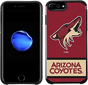 Apple iPhone 8 Plus/iPhone 7 Plus/iPhone 6s Plus/iPhone 6 Plus - NHL Licensed Arizona Coyotes Red Jersey Textured Back Cover on Black TPU Skin