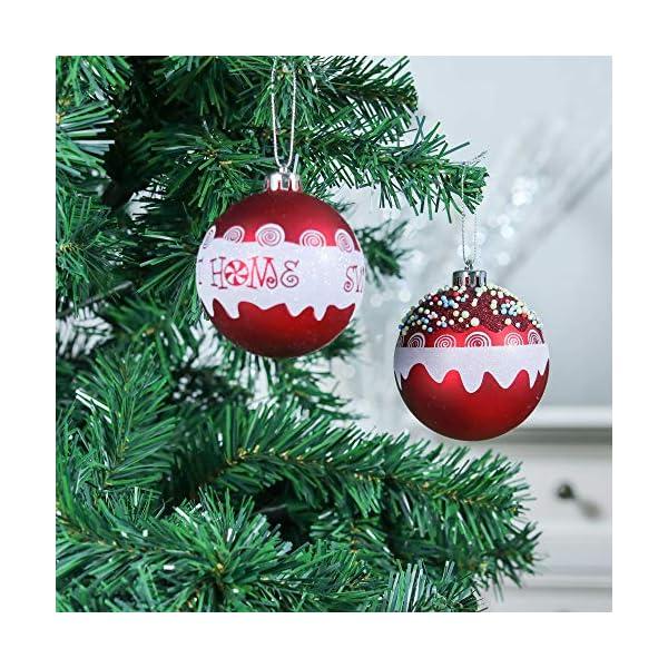 Valery Madelyn Palle di Natale 16 Pezzi 8cm Palline di Natale, Dolci Caramelle Rosse e Bianche Infrangibili Decorazioni per Palle di Natale per Decorazioni per Alberi di Natale 4 spesavip