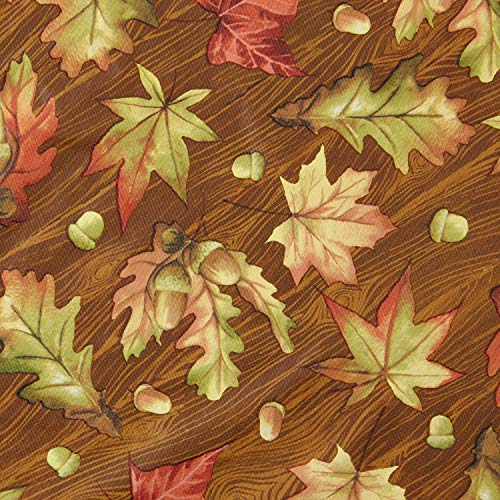 Vinyl Tablecloth 60x102 Harvest Traditional Leaves Theme