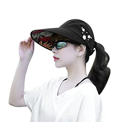 db8f11fb64ba4 Coohole Women s Summer Sun Visor Hat Sun Hats With Big Heads Beach Hat  (Black