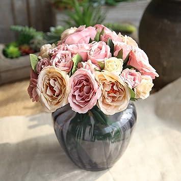 Flores Artificiales Decoración Rosas Plásticas de Seda 9 Cabezas Ramo Nupcial de la Boda para el Hogar Fiesta (Champán Rosado) (rosa Champagne): Amazon.es: ...