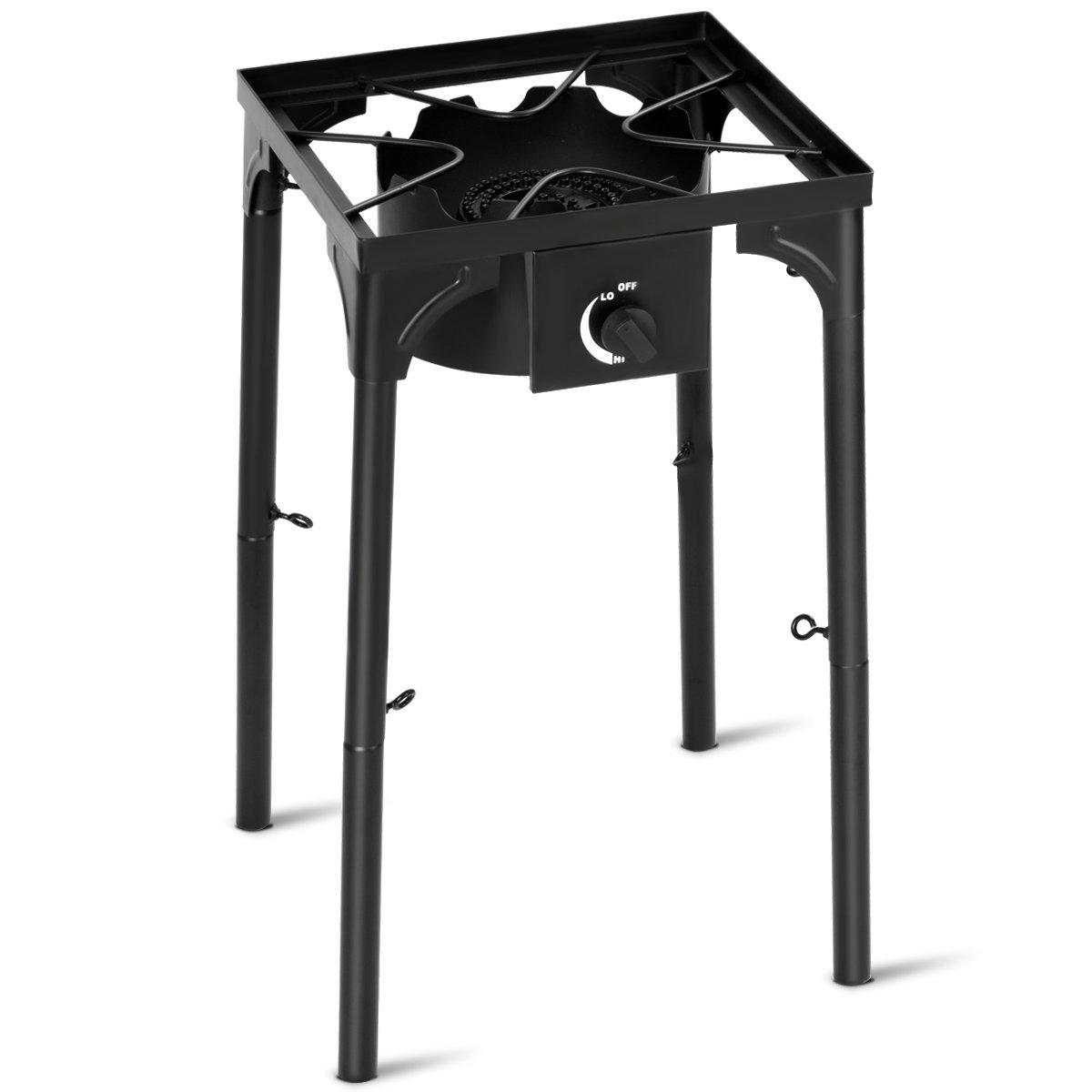 Giantex Portable Propane 100,000-BTU Single Burner Outdoor Stove Cooker Standing Camping Cooking Stove w/CSA Listed High Pressure Regulator, Hose, Adjustable Legs