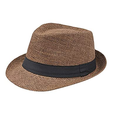 Leisial Sun Panama Fedora Hats for Men Women Ladies Trilby Hat Panama Style Summer Sun Jazz Cap Trilby Straw Hats for Men Safari Beach Hat
