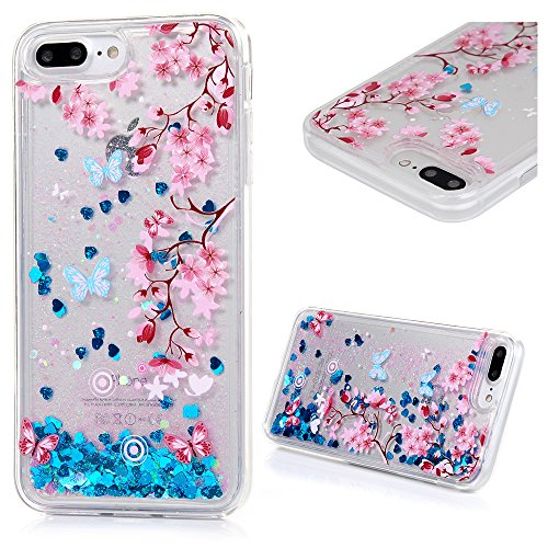 Glitter Butterfly Plastic - Protective Case Compatible with iPhone 7 Plus iPhone 8 Plus Case, Transparent Crystal Clear Soft Flexiable TPU Shell 3D Handmade Bling Sparkle Glitter Quicksand Flowing Liquid Cover Flower Butterfly