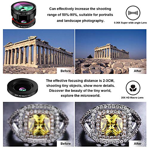 Phone Camera Lens,TODI 9 in 1 Wide Angle Lens,Macro Lens,Fisheye Lens,Telephoto Lens,CPL Lens, Kaleidoscope and Starburst Lens Compatible iPhone,Samsung, Most Andriod Phones by TODI (Image #3)
