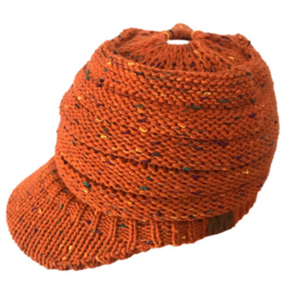 AOXIANG Warm Knit Messy High Bun Ponytail Visor Beanie Cap Horsetail Hat