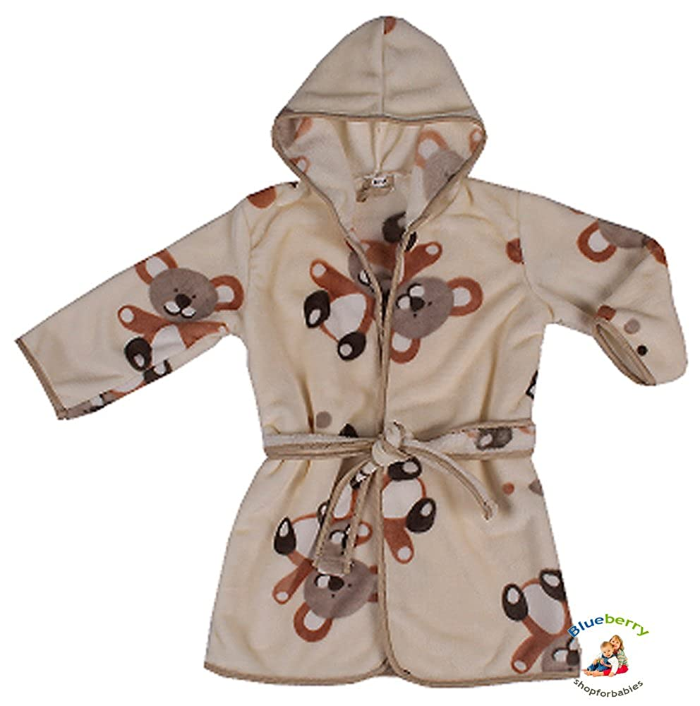 BlueberryShop Printed Luxurious Hooded Soft Warm and Fluffy Velour Bathrobe, Robe, Dressing Gowns 1-7 Yrs (1-7Yrs) (1-2 Yrs) Blueberry Shop for Babies