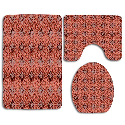 RiuianaBVCc Terracotta Clay Red and Grey Mosaic Diamond Weave Harlequin Pattern Design Bath Mat 3 Piece Set Soft Cloth Washable Toilet Seat Cover Toilet Lid Cover Cushions Pads Skidproof