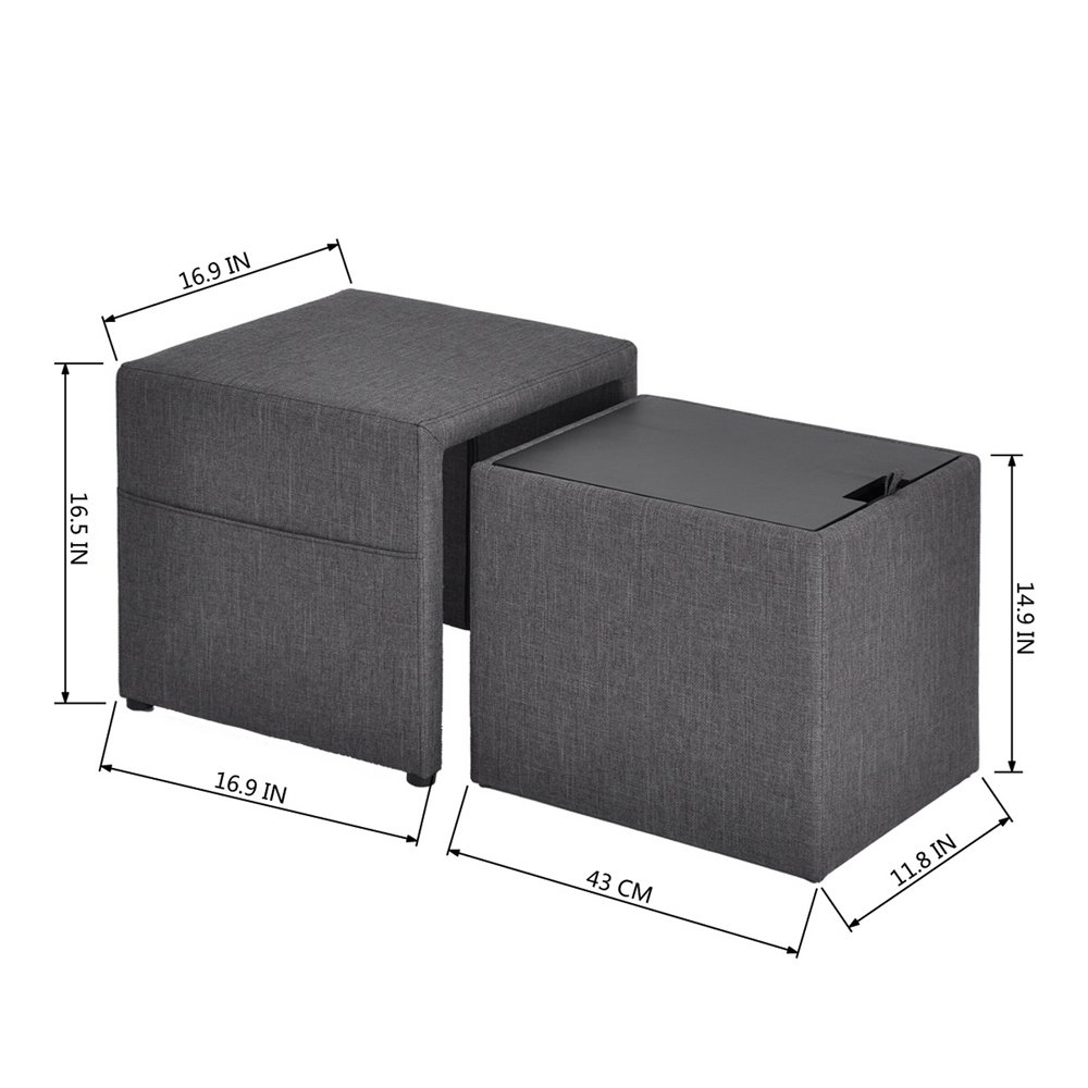 HOMY CASA 17'' Storage Ottoman w/Pull Out Drawer & Side Pocket - Gray Linen - Square Foot Rest Stool, Small Cube Table Ottomans by HOMY CASA (Image #3)