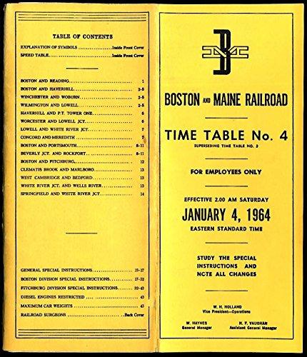 Boston & Maine Railroad employee timetable #4 1/4 1964