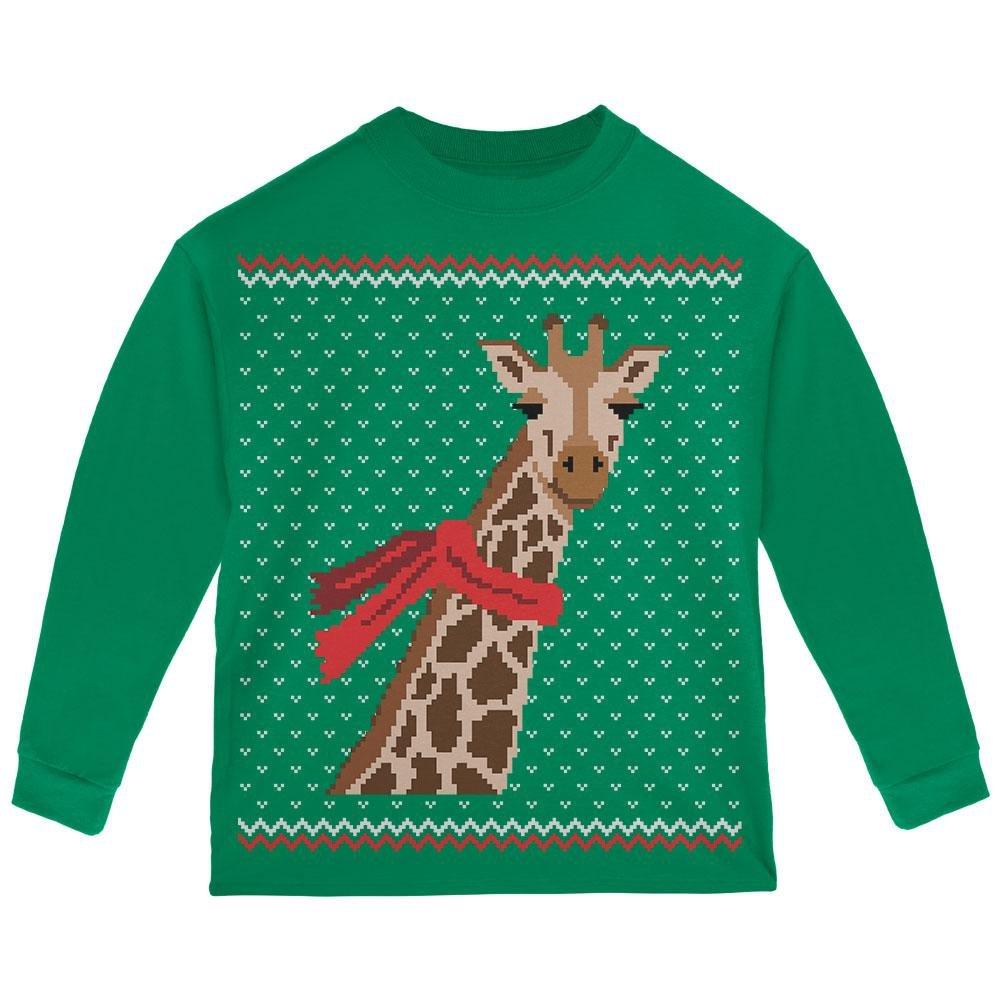Big Giraffe Scarf Ugly Christmas Sweater Toddler Long Sleeve T Shirt Animal World 00166062