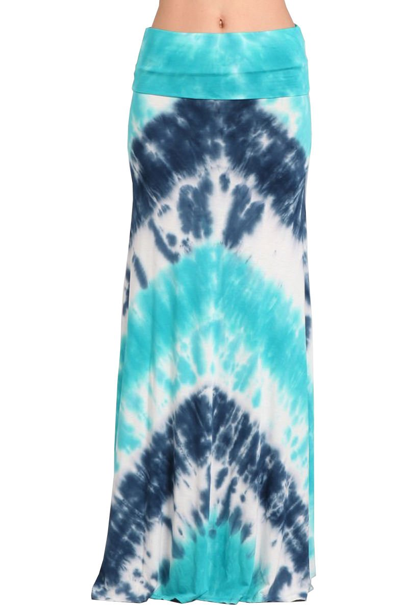 HEYHUN Womens Casual Tie Dye Solid Boho Hippie Long Maxi Skirt - Aqua Blue - Medium