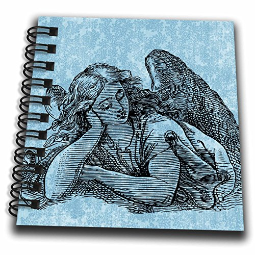 (3dRose db_123565_3 Angel with Pretty Blue Floral Mini Notepad, 4 x 4)