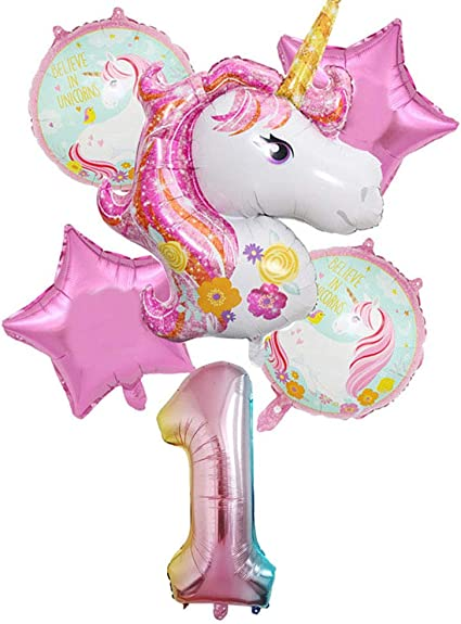 1st Birthday Balloons,Pink Baby Girl Mylar Aluminum Foil Balloons for Birthday Party Decorations and Supplies Hongkai Happy Birthday