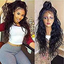 Helene Glueless Lace Front Wigs Long Natural Water Wave Swiss Natural Black Synthetic Lace Front Wig Natural Hairline Heat Resistant Fiber Lace Wigs For Women (22Inch Black Color)
