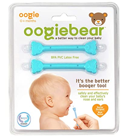 Oogiebear   The Safe Baby Nasal Booger And Ear Cleaner; Baby Shower Gift And Registry Essential Snot Removal Tool   Two Pack   Blue by Oogiebear