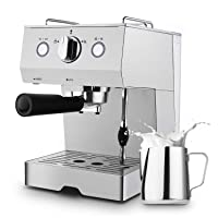 Deals on Barsetto Espresso Coffee Machine 15 Bar w/Milk Frother Wand
