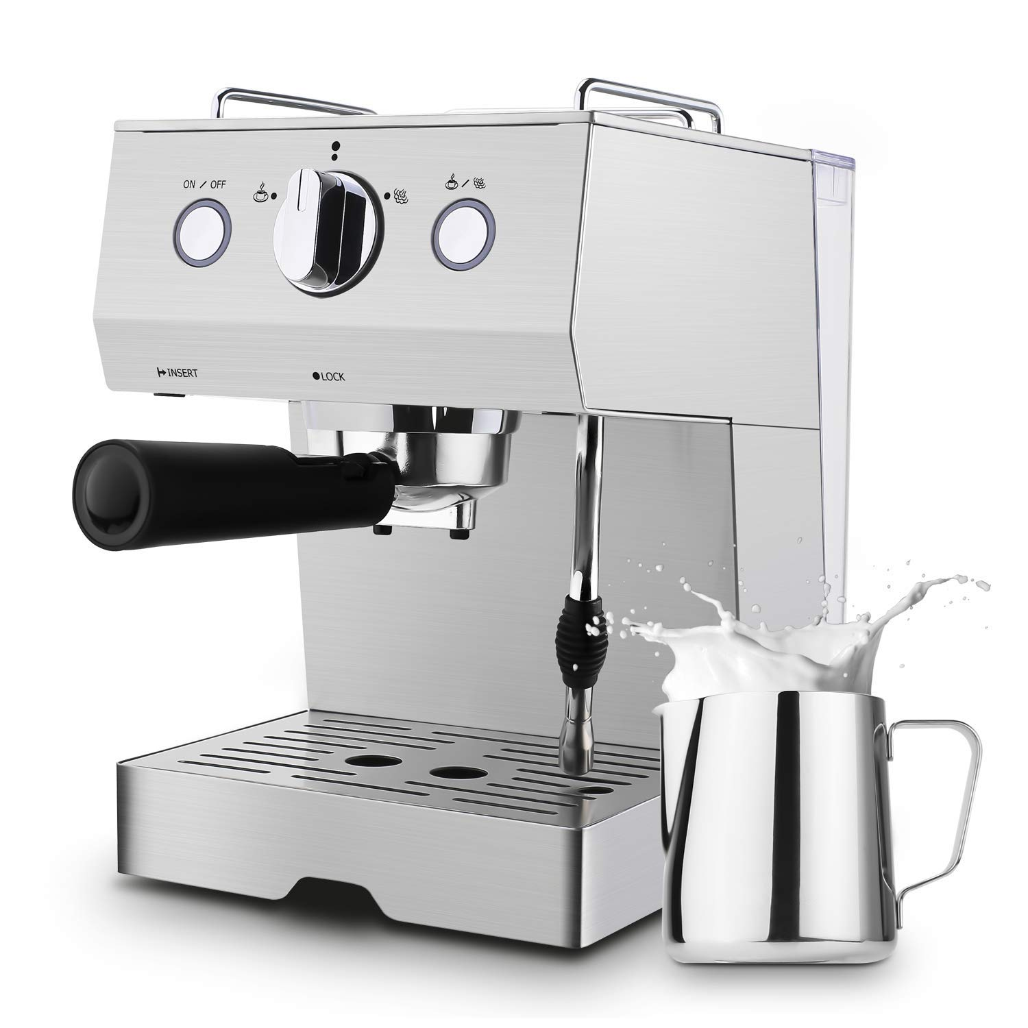 Espresso Machine Barsetto Coffee Machine 15 Bar Stainless Steel Coffee Brewer with Milk Frother Wand, Package w/Free Milk Frothing Pitcher, for Cappuccino, Latte and Mocha (Stainless Steel) (Silver)